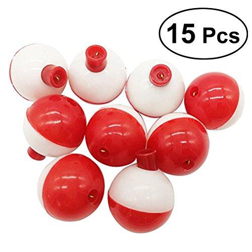 VORCOOL 15 STÜCKE 1 Zoll Größe Angeln Bobber Boje Float Meer Angeln Schwimmt Kunststoff Floats (Rot und Weiß)
