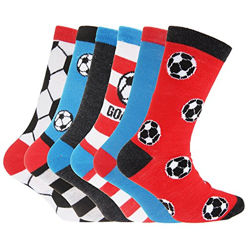 Childrens Boys Football & Stripe Pattern Casual Socks (Pack Of 6) (UK Shoe: 12.5-3.5, EUR 31-36 (8-12 years)) (Football Design)
