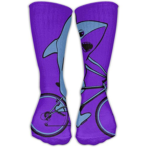 Shark Riding Bike Unisex Novelty Crew Socks Ankle Dress Socks Fits Shoe Size 6-10