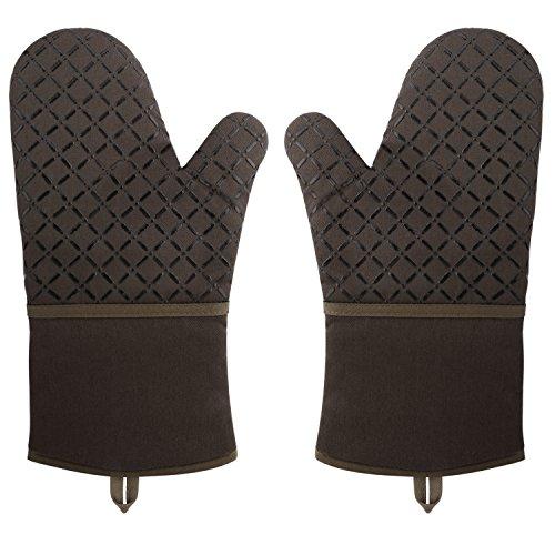 Nuovoware Hitzerbeständige Ofenhandschuhe, Premium Baumwolle & Polyester Gesteppte Übergroße Fäustlinge Küchenhandschuhe Handschuhe für Backen, Kochen, BBQ, extra lang, 1 Paar, Kaffee