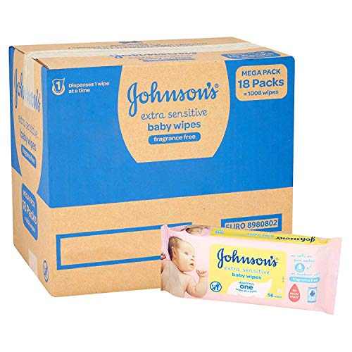 Johnson's Baby Extra Sensitive Fragrance Free Wipes - Pack of 18, Total 1008 Wipes
