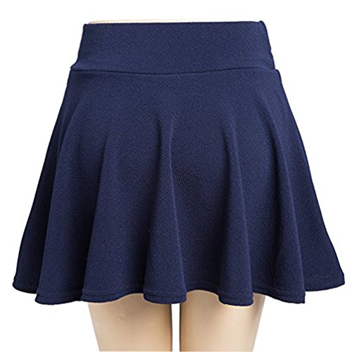 Gonna Corta Donna Moda Svasata Mini Gonna da Pattinatrice Versatile Elastica Solida Colore Gonna Navy L