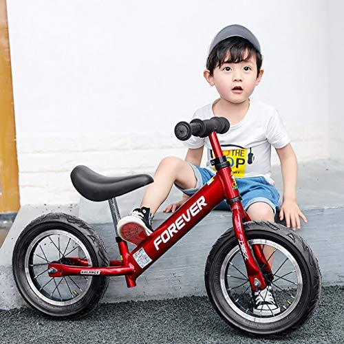 Laufrad Rot, Einstellbarer Sitzgriff Leicht Legierung Rahmen Aufblasbarer Reifen Kein Pedal Gleichgewichtstraining Fahrrad FüR Kinder Und Kleinkinder 2 Bis 6 Jahre -