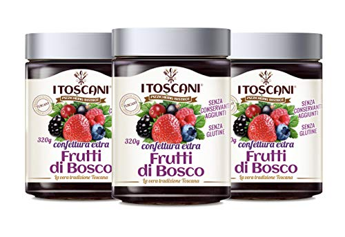 Confettura extra di frutti di bosco 3 confezioni da 320 g - i Toscani. Senza GLUTINE, senza CONSERVANTI aggiunti, italia