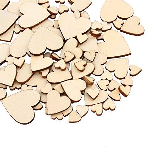 300 pezzi carte legno grezzo, fette cuore abbellimenti (10mm+20mm+30mm+40mm) per ricevimenti nuziali, casa feste, decorazioni da tavola, craft scapbooking decorazione (colore del legno forma di cuore)