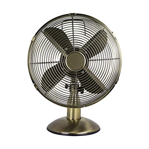 Status S12ADESKFAN1PKB Oscillating Antique Brass Desktop Fan, 12″