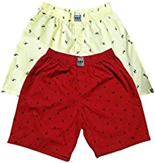 UNO Boys Printed Boxer Shorts Pure Cotton (1,6) Combo of 2