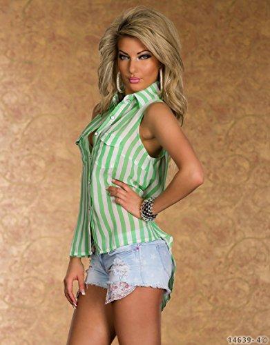 4613 Fashion4Young Leichte Vokuhila- Damenbluse Chiffon Bluse Streifen-Muster Sommerbluse Grün