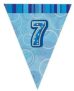 Unique Party Banderines de 7 cumpleaños Color azul edad 7 92147