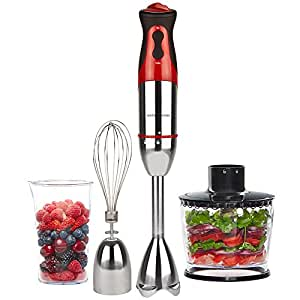Andrew James 700 watt hand blender in red with 500ml food processor bowl attachment and 500ml beaker