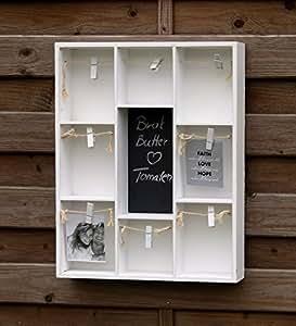 dekorativer setzkasten wandregal mit kleiner kreidetafel und w scheleine mit klammern zum. Black Bedroom Furniture Sets. Home Design Ideas