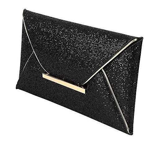 Clutch Bag Abendtasche Clasichic Dmen Envelope Tasche Kettentasche Schwarz