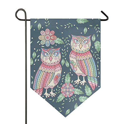 Garden Flag Cute Owls Feather Flower Leaf Seamless Pattern 12x18.5 Inches (12