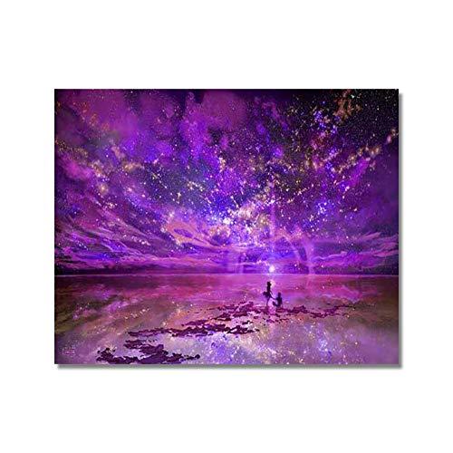 LZKUKZSA Malen nach Zahlen Wandkunst Dekoration DIY öl aquarell Stern Landschaft by Zahlen Blumen Bilder leinwand malerei für Wohnzimmer gerahmt -