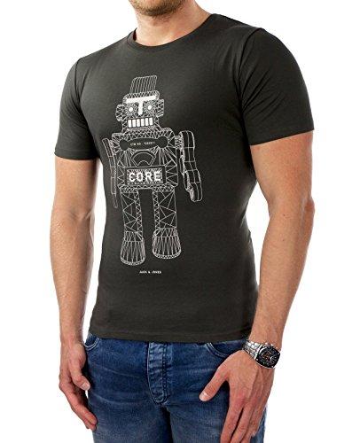 JACK & JONES Herren T-Shirt jcoMORGAN kurzarm Shirt Hemd Slim Fit Print Anthrazit (Herstellerfarbe: Raven)