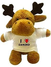 Reno de peluche (llavero) con Amo Edmond en la camiseta (nombre de pila/apellido/apodo)
