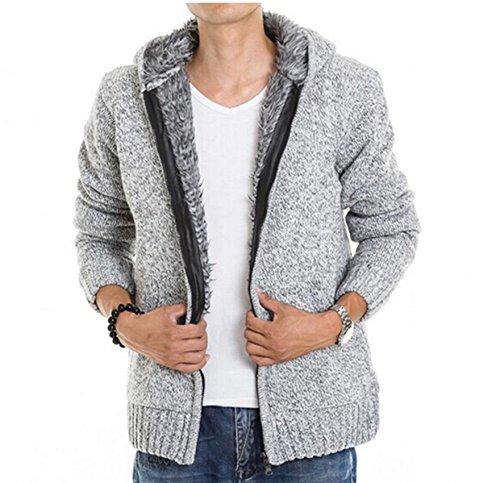 Fashion Casual Pull pour homme plus épais en velours à capuche pour femme Cardigan pull Manteau gris clair