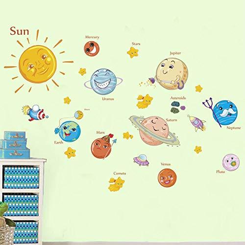 Weltraumforschung Sonnensystem Planet Rocket Cartoon Wandaufkleber Kreative Kinderzimmer Baby...