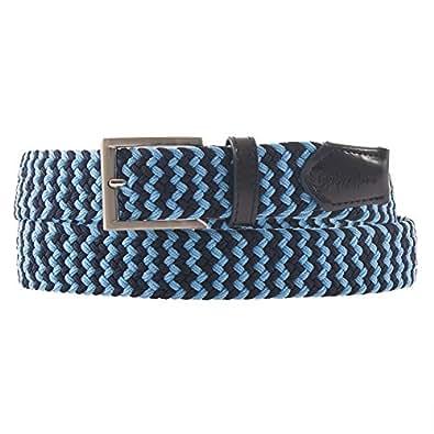 Ioniennes casual ceinture, cuir et extensible couleur de tissu bleu, les dimensions en cm: 125 W x 3.5 h