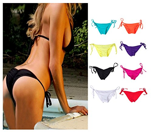NOAHAN Frauen Bunt Sexy Bikini Bottom Swimsuit Tie Side Push Up Brazilian S M L XL (Side-tie Set Bikini)