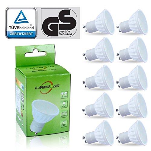lampaous Lot de 10lampes LED GU10Dimmable Blanc chaud Ampoule LED GU105W, 450lm Super Bright LED GU1050W halogène GU10de lampe de rechange, blanc très doux avec le Diffuseur En Verre dépoli, protéger les yeux Spécialement pour famille avec enfants, blanc chaud, gu10, 5.00 wattsW