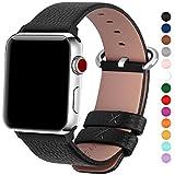 15 Farben für Apple Watch Armband 38mm 42mm, Fullmosa® Uhrenarmband Litschi Textur Hauptschicht Rindsleder Lederarmband für Apple Watch Series 1 Series 2 Series 3 ,Schwarz 42mm