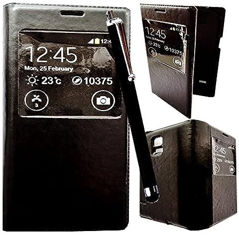 *** PACK LUXE *** coque SAMSUNG GALAXY S5 MINI etui Housse Noir cuir PU Flip cover de Protection 4G PORTEFEUILLE S-View Folio dual sim case view + STYLET pour Smartphone S 5 MINI duos sm-g800 G800 avec motif Silver