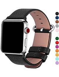 Apple Watch Armband in 15 Farben, Fullmosa® Uhrenarmband 38mm/42mm Ersatz Apple Watch Lederarmband mit Edelstahlschließe für iwatch Series 1 Series 2 Series 3,Schwarz 42mm