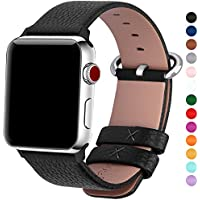 Apple Watch Straps 42mm and 38mm, Fullmosa Yan Calf Leather Replacement Band/Bracelet with Stainless Steel Clasp for iWatch Series 1,Series 2,Series 3 Sport and Edition Versions 2015 2016 2017, 42mm Black