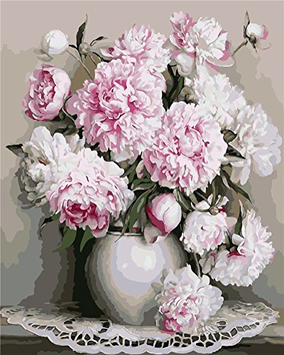 40*50cm Pink Rose Blumen DIY Malen Nach Zahlen Malerei Ölgemälde Wandbild Deko