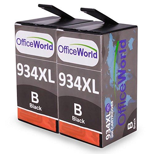Preisvergleich Produktbild OfficeWorld Ersatz für HP 934XL Schwarz Druckerpatrone Hohe Kapazität mit Neuer Chips Kompatibel für HP Officejet Pro 6830 6820 6230 6812 6815 6835 Drucker, Packung mit 2