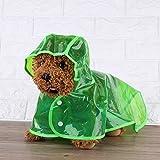 Fdit Hunde-Regenmantel, wasserdicht, Regen-Poncho mit Kapuze Outdoor Regenanzug Hunde Kleidung Bekleidung, L-Green