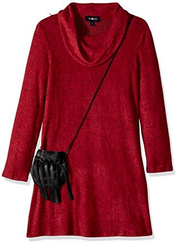 Ein Byer Kleider (Amy Byer Big Girls' Cowl Neck Sweater Dress With Bag, Red, L)