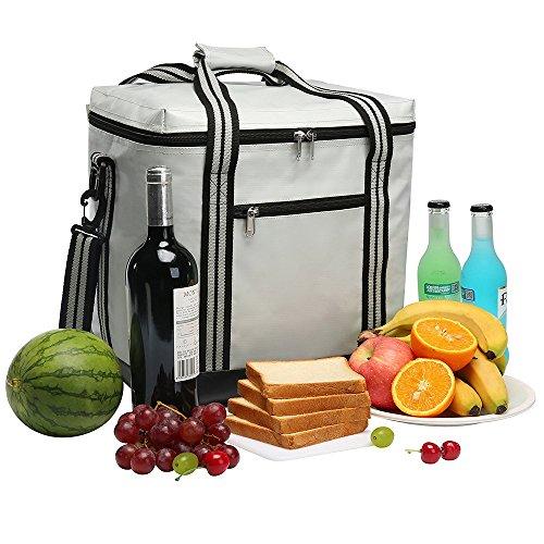Yonovo borsa termica da picnic, capiente, isolata e impermeabile, con vano per uso alimentare, per barbecue, campeggio, spiaggia, viaggi e pesca ivory-a