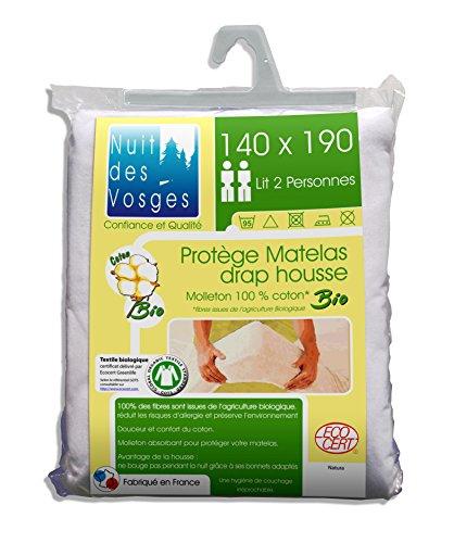 Nuit des Vosges Protège Matelas Molleton Bio, 100% Coton, Blanc, 140 x 190 cm