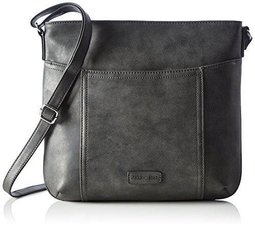GERRY WEBER Open Mind V, L 4080003666 Damen Schultertaschen 32x30x1 cm (B x H x T), Grau (Dark Grey 802) (Hobo Handtasche Flap)