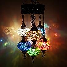 Uniques Turque Lampe Ottomane Style Mosaïque De Verre Chandelier 7 Ampoule + AMPOULES GRATUIT _CHAND C