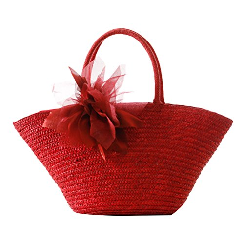 Zhhlaixing Casual Korean Style Flowers Woven Garden Pastoral Silk Flowers Fashion bags Beau sac spécial for Women red