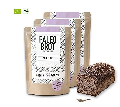 Organic Workout PALEO-BROT-BACKMISCHUNG 3er Pack | 100% Bio | gluten-frei | low-er-carb | Eiweiss-Brot | clean-eating | Fitness-Brot | hefefrei | ohne Getreide | hergestellt in Deutschland
