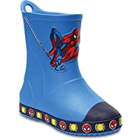 Crocs Children Boys Bump It Spiderman Welly in Blue Detail to Front Contrast Toe