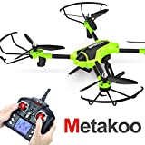 Metakoo Drohne mit Kamera RC Quadcopter Kamera Drone 720P HD Höhenhaltung Headless Mode 3D Flip 2.4GHz 4CH 6 Axis Gyro LED Beleuchtung Ferngesteuertes Flugzeug Spielzeug Grün