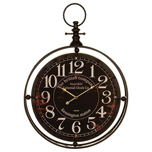 Horloge pendule en métal - Diamètre 60 cm - Forme GOUSSET - Coloris NOIR