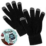 Touchscreen Handschuhe Polar Touch von TecStyle®, Smartphone Handschuhe fürs Handy Display, Schwarz & Grau, elastische Universalgröße, für Herren & Damen (unisex), B-Ware