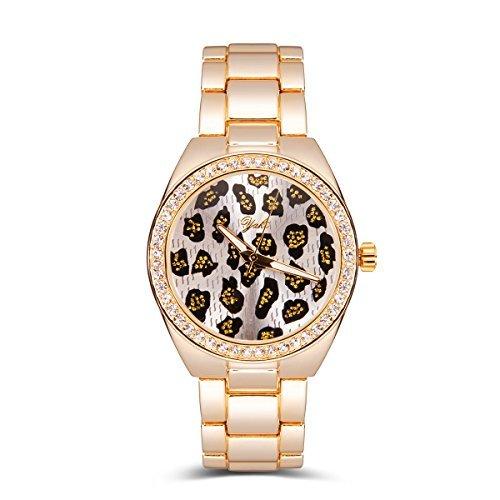 YAKI Moda Lusso Classico Orologio Da Polso Per Donna Analogico Al Quarzo Leopardo Oro Con Diamante Gratuito Scatola 991-Y
