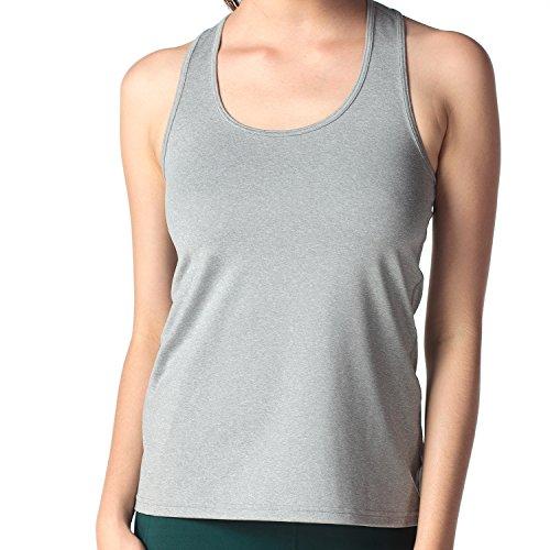 Lapasa Débardeur de Sport Top Yoga Femme T-shirt sans manches Sport Dos Nageur Séchage Rapide - Yoga Gym Musculation Gris chiné