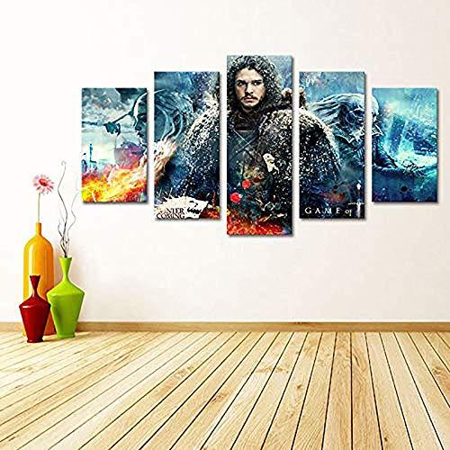 Cuadros Modulares de Lona HD Imprime Juego de imágenes Tronos decoración del hogar 5 Piezas murales, A, 10 × 15 × 2 + 10 x 20 x 2 + 10 × 25 × 1