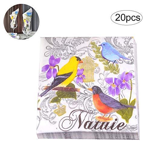 Wudi 20PCS / Pack Papierservietten Partei Servietten Servietten gedruckt Vögel Serviette Für Brautparty-Tee-Party Tischdekorpapier