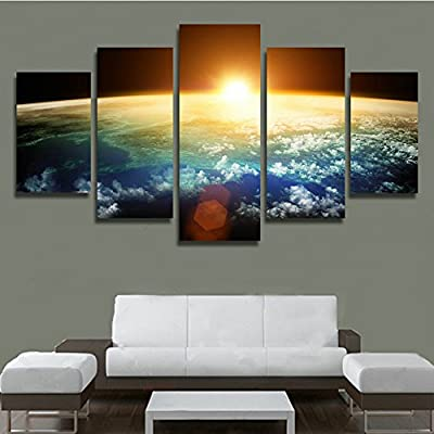 XrsArt 5 Panel Modern Sunrise Space Universe Picture Painting Cuadros Wall Decor Canvas Art Home Decor For Living Room(Unframed) Unframed FCa37 50 inch x30 inch produced by Shenzhen Xin run shun Leather Co., LTD - quick delivery from UK.
