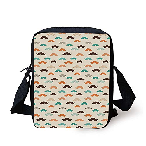 Indie,Retro Mustache Pattern in Stylized Curly Shapes Old Fashioned,Teal Orange Brown Print Kids Crossbody Messenger Bag Purse