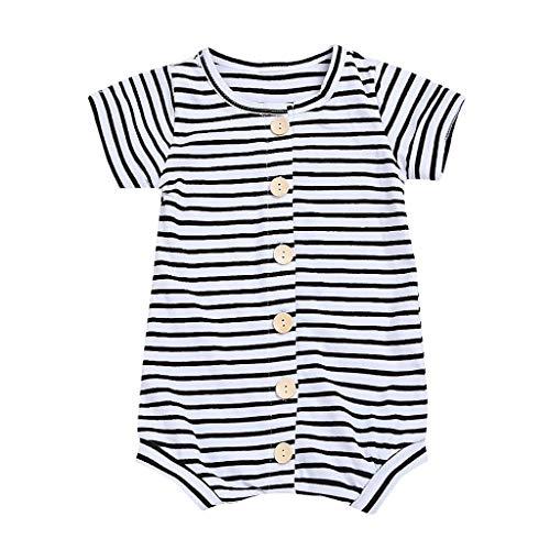 Jimmackey neonato a righe manica corta pagliaccetto bottone tutine body, da 0 a 24 mesi bebè